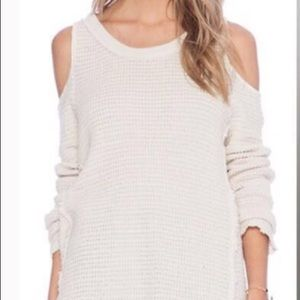 free people cold shoulder cream sweater